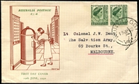 Lot 523:Knight 1950-57 KGVI Definitives 1½d green QE pair tied to illustrated FDC (brown & green) by 'WONTHAGGI/19JE50/VIC.' (A2 - WWW #20), typed addressed.
