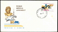 Lot 526:Parade 1968 World Medical Assembly 5c tied to illustrated FDC by 'WONTHAGGI/2/6AU68/VIC-AUST' (A2 - WWW #134A), unaddressed, some tone spot.