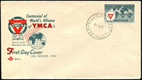 Lot 527:Royal 1955 YMCA World Centennial 3½d tied to illustrated FDC by 'YALLOURN EAST/10AU55/VIC-AUST' (A1 - WWW #10A - Rated 2P), unaddressed.