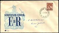 Lot 528:Royal 1959-62 Zoological Series 8d Tiger Cat tied to illustrated FDC (light & dark blue) by 'WANDIN NORTH/11MY60/VIC' (A2), neatly addressed, light crease.