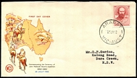 Lot 557:WCS 1962 John Stuart 5d tied to illustrated cover by 'ARARAT/25JY62/VIC-AUST' (A1 - WWW #220A - Rated 3R), typed addressed.