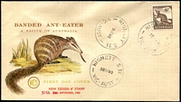 Lot 554:WCS 1959-62 Zoological Series 6d Anteater tied to illustrated FDC by 'HIGHETT/30SE60/VIC-AUST' (A1 - WWW #50A - Rated 2R), unaddressed. [Cover originally printed with issue date of the 29th but corrected by manufacturer.]