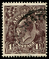 Lot 635:1½d Black-Brown Die I - [2R6] Curved white flaw in left wattles.
