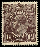 Lot 232:1½d Black-Brown Die I - BW #83(1)i [1R25] White spot on back of King's neck, Cat $40.