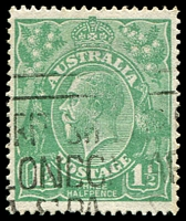Lot 336:1½d Green Die I - BW #88(14)k [14R46] Fraction bar and 2 at right recut, Cat $40.
