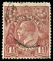 Lot 1487:1½d Red-Brown Die I - [13R60] LF of HALF joined etc.