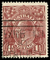 Lot 1490:1½d Red-Brown Die I - [14R55] thinned and irregular lower frame - State I, blunt corner perf.