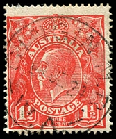 Lot 420:1½d Red Die I - [15L31] Notch in left end of top frame, etc, cancelled with light 'GINGIN M.R./24JE24/W.A