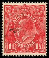 Lot 449:1½d Red Die I - BW #89(15)ha [15R39] White flaw on T of AUSTRALIA - state II - flaw on ST, Cat $35.