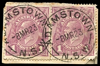 Lot 6445:Adamstown: - 2 partly overlapping strikes of 27mm 'ADAMASTOWN/8MR23/N.S.W' on 1d violet KGV x2.  PO 16/4/1877.