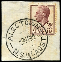 Lot 6461:Alectown: - 'ALECTOWN/2JA54/N.S.W-AUST' on 3½d brown KGVI (toning).  Renamed from Alicktown PO 1/8/1891; closed 30/9/1983.