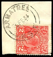 Lot 786:Armatree (2): - 'ARMATREE/5FE34/N.S.W' on 2d red KGV.  Renamed from Armatree Railway PO 1/6/1916; closed 28/10/1988.