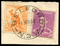 Lot 1164:Belford: - 'BELFORD/1MR44/N.S.W' on ½d Roo & 2d purple KGVI.  PO 1/8/1865; closed 30/9/1968.