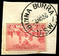 Lot 1174:Binna Burra: - 'BINNA BURRA/4NO36/N.S.W.' (ERD) on 2d SA Centenary (fault).  RO 10/1/1902; PO 1/7/1907; closed 31/8/1974.