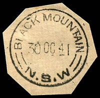 Lot 1175:Black Mountain: - 'BLACK MOUNTAIN/30OC41/=N.S.W=' on piece.  Renamed from Booroolong R.S. PO c.1886; closed 28/9/1985.