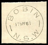 Lot 1178:Bobin: - 'BOBIN/17MY61/N.S.W' on piece.  RO 15/5/1895; PO 18/12/1909; closed 4/5/1976.