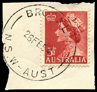 Lot 6604:Brooklyn: - 'BROOKLYN/26FE54/N.S.W-AUST' on 3½d red QEII.  Renamed from Peats Ferry PO 16/6/1888.
