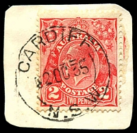Lot 813:Cardiff: - 'CARDIFF/2OC35/N.S.W.' on 2d red KGV.  PO 16/7/1891.