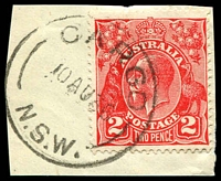 Lot 815:Cargo: - 'CARGO/10AU36/N.S.W.' on 2d red KGV.  PO 1/12/1868; closed 28/7/1989.