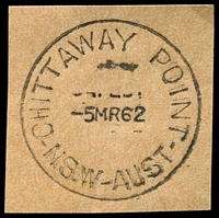 Lot 1220:Chittaway Point: - 'CHITTAWAY POINT/5MR62/N.S.W-AUST' on piece.  PO 11/1/1937; closed 7/3/1979.