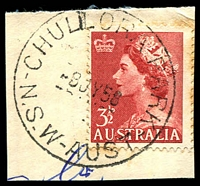 Lot 6665:Chullora Park: - 'CHULLORA PARK/8JY58/N.S.W-AUST' on 3½d red QEII.  Renamed from Chullora Camp PO 1/12/1951; closed 31/10/1967.