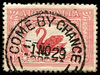 Lot 1222:Come-By-Chance: - 'COME BY CHANCE/1NO29/=[N.S.W]=' (error; no hyphens), on 1½d WA Centenary.  PO 8/9/1890; closed 30/9/1987.