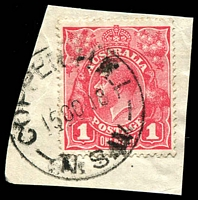 Lot 829:Copper Hill: - 'COPPER HILL/15OC18/N.S.W' on 1d red KGV.  RO 15/9/1910; PO 1/3/1915; TO 1/12/1930; closed 31/3/1937.