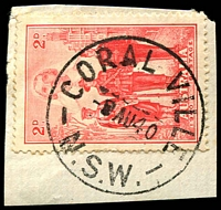 Lot 1229:Coral Ville: - 'CORAL VILLE/?AU40/N.S.W.' on 2d AIF.  Renamed from Big Swamp RO 17/5/1926; PO 1/7/1927; closed 30/6/1956.