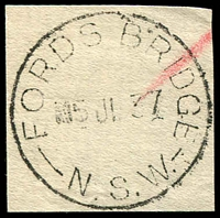 Lot 1250:Ford's Bridge: - 'FORDS BRIDGE/5JL37/N.S.W.' on piece.  RO 15/4/1890; PO 1/1/1892; closed 31/7/1990.