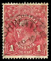 Lot 846:Freshwater: - 'FRESHWATER/11AP18/[N.S.]W' on 1d red KGV. [Hopson & Tobin record 1914 only - the first offered by us.]  Renamed from Freshwater Bay PO 1/2/1912; renamed Harbord PO c.-/11/1923.