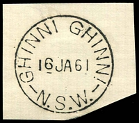 Lot 1256:Ghinni Ghinni: - 'GHINNI GHINNI/16JA61/N.S.W.' on piece. [Rare in TO period.]  Renamed from Jones' Island PO 15/2/1868; TO 1/6/1960; closed 11/9/1967.