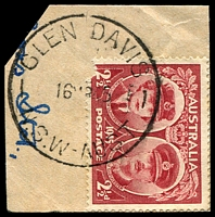 Lot 850:Glen Davis: - 'GLEN DAVIS/16MR45/N.S.W-AUST' (arcs 4,3) on 2½d Gloucester (faulty).  PO 1/3/1939; closed 1/10/1986.