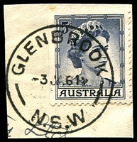 Lot 851:Glenbrook: - 'GLENBROOK/3JA61/N.S.W' on 5d blue QEII.  PO 1/3/1882.
