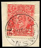 Lot 855:Glenovel: - 'GLENOVEL/13FE34/N.S.W' on 2d red KGV (cut-to-shape).  Renamed from Bronti PO 15/4/1913; TO 1/4/1952; closed 23/6/1954.