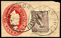 Lot 861:Gore Hill (2): - 2 strikes of 'GORE HILL/17NO50/N.S.W.' on 6d Kookaburra on 2½d cut-out.  PO 2/1/1936; renamed St. Leonards PO 1/11/1965.