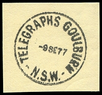 Lot 864:Goulburn: - 'TELEGRAPHS GOULBURN/9SE77/N.S.W' on piece.  PO 1/2/1832.