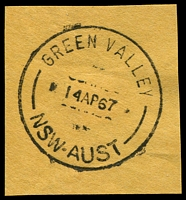 Lot 870:Green Valley (3): - 'GREEN VALLEY/14AP67/NSW-AUST' on piece. [Unrecorded by Hopson & Tobin without time.]  Renamed from Miller PO 19/11/1964; renamed Miller PO 1/1/1973.