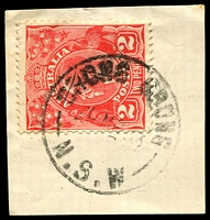 Lot 874:Grong Grong (2): - 'GRONG GRONG/30MR33/N.S.W' (Type 2A - LRD) on 2d red KGV.  Renamed from Grong Grong R.S. PO 3/1/1898.