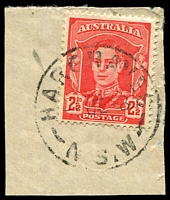 Lot 886:Hargraves: - 'HARGRAVES/-5?E?8/N.S.W' on 2½d red KGVI.  Renamed from Louisa Creek PO 16/9/1872; closed 29/8/1986.