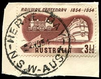 Lot 1275:Herne Bay: - 'HERNE BAY/2NO54N.S.W-AUST' on 3½d Railway Centenary.  Renamed from Riverwood PO 1/4/1946; renamed Riverwood PO 1/2/1958.