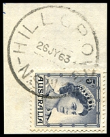 Lot 897:Hillgrove: - 'HILLGROVE/26JY63/N.S.W.' on 5d blue QEII.  PO 1/6/1884; closed 31/5/1979.