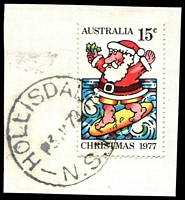 Lot 903:Hollisdale: - 'HOLLISDALE/3JA78/N.S.W.' (LRD) on 15c Xmas.  Renamed from Central Pappinbarra PO 6/10/1923; TO 1/6/1945; PO 16/7/1945; closed 10/6/1980.