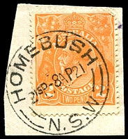 Lot 905:Homebush: - 'HOMEBUSH/215P-8AP21/=N.S.W=' (ERD) on 2d orange KGV.  TO 13/12/1877; PO 1/1/1878; closed 30/8/1996.