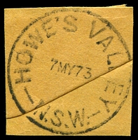 Lot 909:Howe's Valley: - 'HOWE'S VALLEY/7MY73/N.S.W.' on piece.  PO 2/6/1873; closed 30/11/1979.