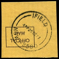 Lot 917:Ifield: - 'IFIELD/415P26SE77/NSW-2580' on piece. [Recorded use 1977 only.]  PO 23/6/1947; closed 11/11/1977.