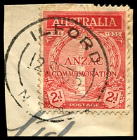 Lot 918:Ilford: - 'ILFORD/12SE35/N.S.W.' on 2d ANZAC.  Renamed from Keen's Swamp PO 1/3/1868; closed 29/10/1993.