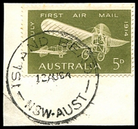 Lot 924:Island Bend: - 'ISLAND BEND/12AU64/NSW-AUST' on 5d Air Mail.  PO 11/1/1951; closed 30/4/1968. [Snowy Mountains Scheme]