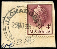 Lot 926:Jackadgery: - 'JACKADGERY/25NO58/=N.S.W=' on 4d lake QEII.  TO 24/9/1914; RO 1/1/1916; PO 1/7/1927; closed 9/7/1976.