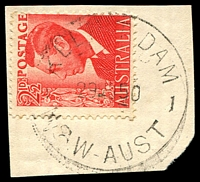 Lot 941:Keepit Dam (3): - 'KEEPIT DAM/29NO50/N.S.W-AUST' on 2½d red KGVI.  PO 9/9/1947; closed 1/6/1976.