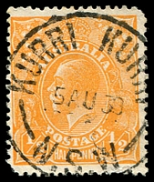 Lot 971:Kurri Kurri: - 'KURRI KURRI/5AU30/N.S.W' on ½d orange KGV.  PO 17/8/1903.